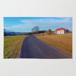 Country road, scenery and blues sky | landscape photography Rug