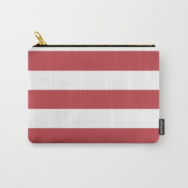 Watermelon red - solid color - white stripes pattern Carry-All Pouch