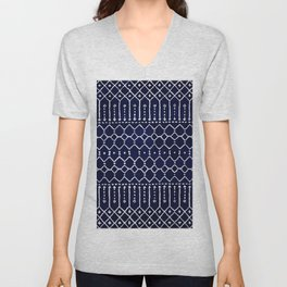 Indigo Dark Blue Farmhouse Moroccan Style. Unisex V-Neck