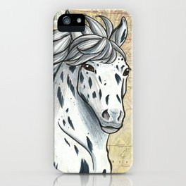 Gray Appaloosa on Vintage Map iPhone Case