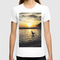 santa monica T-shirts featuring Seagull at Santa Monica Pier California by Bill Gallagher Art