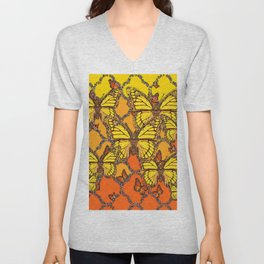 YELLOW & ORANGE MONARCH BUTTERFLIES ART Unisex V-Neck
