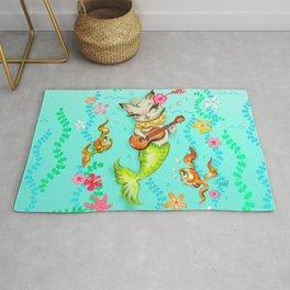 Mermaid Cat with Ukulele Rug