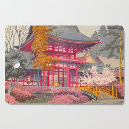 Japanese Woodblock Print Vintage Bright East Asian Red Pagoda Spring Garden Cutting Board