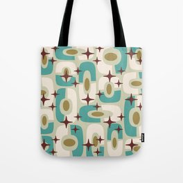 Mid Century Modern Cosmic Abstract 144 Turquoise Gold Brown and Beige Tote Bag