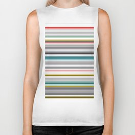 grey and colored stripes Biker Tank
