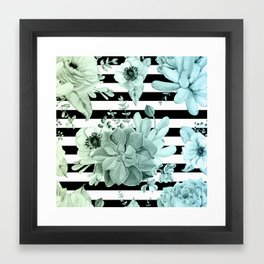 Succulents in the Garden Teal Blue Green Gradient with Black Stripes Framed Art Print