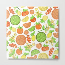 Citrus Garden Pattern Metal Print