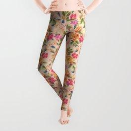 Golden Flitch (Digital Vintage Retro / Glitched Pastel Flowers - Floral design pattern) Leggings