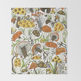 Hand-drawn Mushrooms Throw Blanket