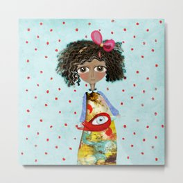 Red Bird Pet Doll Grungy Polka Dots Metal Print
