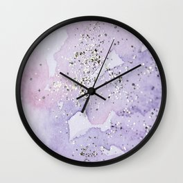 Pastel Glitter Watercolor Painting Wall Clock