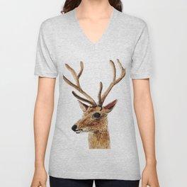 deer watercolor painting Unisex V-Neck