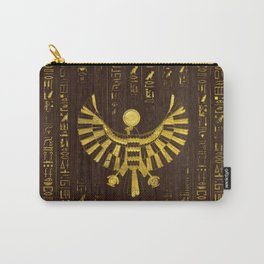 Golden Egyptian Horus Falcon and hieroglyphics on wood Carry-All Pouch