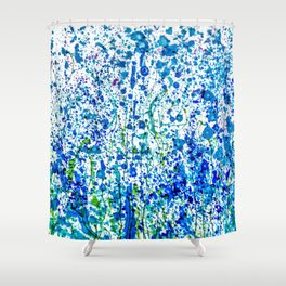 Splattered Blue! Transparent Floral Abstract - Painting Shower Curtain