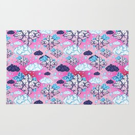 Beautiful geometric clouds with the rain coming Rug