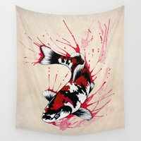 blood Wall Tapestries featuring Koi by Puddingshades
