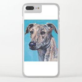 Azawakh sighthound dog portrait art from an original painting  by L.A.Shepard Clear iPhone Case