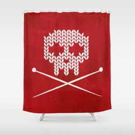 Knitted Skull / Knitting with Attitude (white on red) Shower Curtain