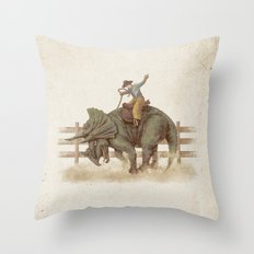 Dino Rodeo  Throw Pillow