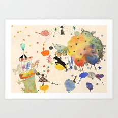 spin in universe Art Print