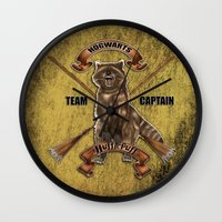 hufflepuff Wall Clocks featuring Hufflepuff  Hogwarts Team Captain by JanaProject