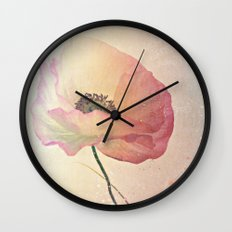 Inspired by the light -- Pink Poppy Flower Wall Clock