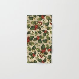 Gold and Red Holly Berrys Hand & Bath Towel