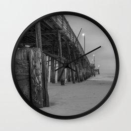 Newport Pier in Grey Wall Clock