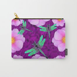 Aqua Dragonflies Pink Roses Purple Abstract Pattern Art Carry-All Pouch
