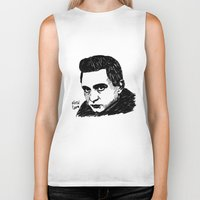 johnny cash Biker Tanks featuring Johnny Cash by Feral Doe