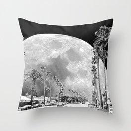 California Dream // Moon Black and White Palm Tree Fantasy Art Print Throw Pillow