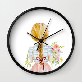 Blonde Girl with Flowers Wall Clock