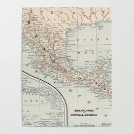 Vintage Map of Mexico (1893) Poster