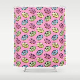 Donut Fun! Frosted Donuts Cartoon Pattern Shower Curtain