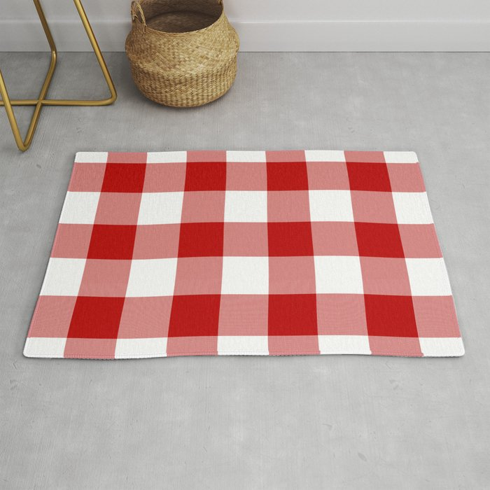 Red And White Buffalo Check Rug By