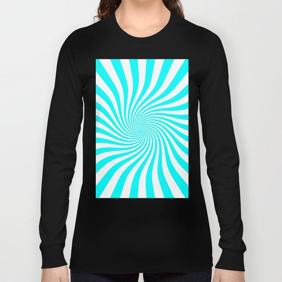 Swirl (Aqua Cyan/White) Long Sleeve T-shirt