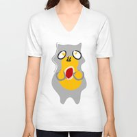 racoon V-neck T-shirts featuring Racoon by Jessica's Illustrationart