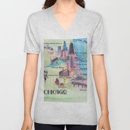 Chicago Favorite Map with touristic Top Ten Highlights in Colorful Retro Style Unisex V-Neck