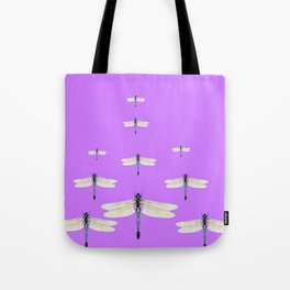 GAUZY WINGED DRAGONFLIES ON LILAC Tote Bag