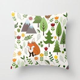 Scandinavian Style Illustrations on Cream Pattern Throw Pillow