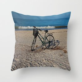 Bike on Barefoot Beach Throw Pillow