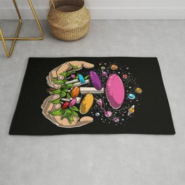 Magic Mushrooms Space Psychedelic Trip Rug