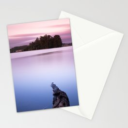 Sunset with pink sky and blue lake Stationery Cards