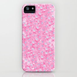 Hand painted pink blue watercolor hortensia floral iPhone Case