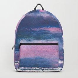 Pink Blue streaked watercolor painting Backpack