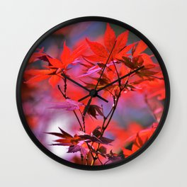 Red Japanese Maple Leaves Wall Clock
