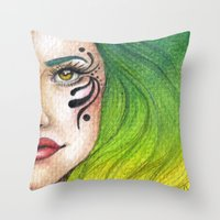 fierce Throw Pillows featuring Fierce  by StaceyPatinoArt