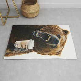 """ Grizzly Mornings "" give that bear some coffee Rug"
