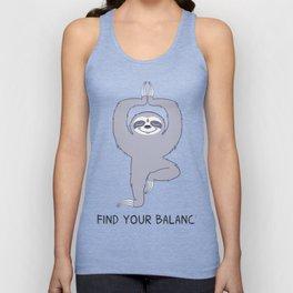 Happy Yogi Sloth - Find your balance Unisex Tank Top